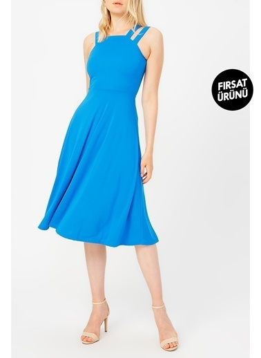 Random Çift Askılı Midi Elbise Mavi